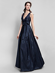Floor-length Taffeta Bridesmaid Dress - Dark Navy A-line V-neck