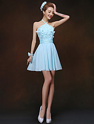 Short/Mini Bridesmaid Dress - Sky Blue Sheath/Column High Neck