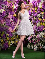 Lan Ting A-line/Princess Wedding Dress - Ivory Short/Mini V-neck Organza