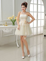 Short/Mini Bridesmaid Dress - Champagne A-line / Princess Strapless