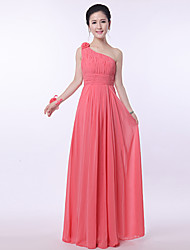Floor-length Bridesmaid Dress Sheath/Column One Shoulder
