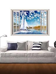 Adesivos de parede adesivos de parede 3d, veleiro de parede decoração adesivos de vinil