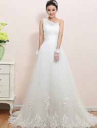 A-line Wedding Dress - White Floor-length One Shoulder Lace