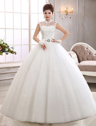 Ball Gown Wedding Dress See-Through Floor-length High Neck Tulle with Appliques Sequin