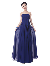 Floor-length Bridesmaid Dress - Ruby / Royal Blue Sheath/Column Strapless