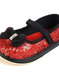 Girl's Flats Spring / Fall Round Toe / Closed Toe Glitter Outdoor / Casual / Athletic Flat Heel Sequin / Magic Tape / Hook & Loop Red
