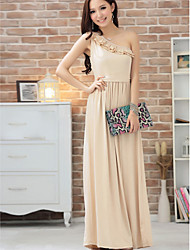 Ankle-length Silk Bridesmaid Dress - Champagne / Black / Pool Ball Gown Sweetheart