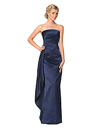 Dress - Dark Navy / Clover Petite Sheath/Column Strapless Floor-length Satin