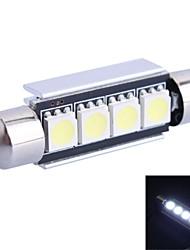 GC® 41mm 1.2W 65lm 6000K 4x5050 smd vita ledde till bil läsning / registreringsskylt / dörr ljus lampa (12V)
