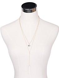 OM® Women's Gold-tone Multirow Bar & Circle Long Necklace