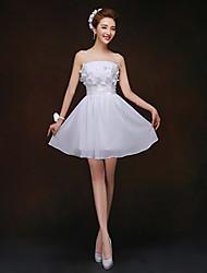 Short/Mini Bridesmaid Dress - White Sheath/Column Strapless