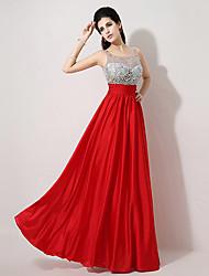 Fiesta formal Vestido - Rojo Corte A Hasta el Suelo - Escote A la Base
