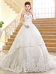 Ball Gown Wedding Dress-Cathedral Train Sweetheart Lace