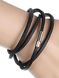 4 Ring Buckle Leather Wrapped Leather Bracelet (Multicolor) Christmas Gifts