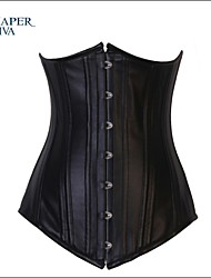 Shaperdiva Women's Body Shaper Leather Underbust Corset Double Steel Bone Bustier