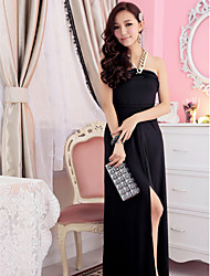 Ankle-length Silk Bridesmaid Dress - Champagne / Black Ball Gown Sweetheart