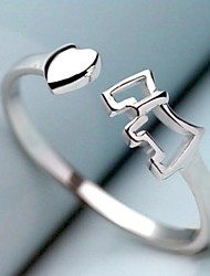 Heart-shaped S925 Sterling Silver Rings with Pony(adjustable)