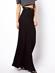 Women's Black Skirts , Casual Maxi