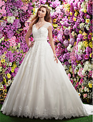 LAN TING BRIDE A-line Wedding Dress See-Through Chapel Train V-neck Lace with Appliques Beading Sash / Ribbon