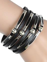 braceletseuropean charme couro e popular americana pulseira de couro multi-frisado (multicolor) jóias