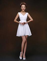 Corta / Mini Vestido de Dama de Honor Corte en A / Princesa Tirantes con