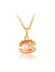 Women's Pearl Shell Gold Plated Zircon Necklace(More Colors)