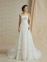 Vestido de Boda - Blanco y Champaña (el Color y Estilo pueden variar según su monitor) Corte en A Hasta el Suelo - Sin Tirantes