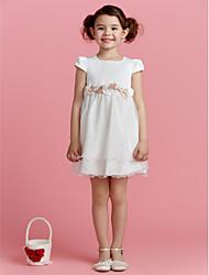 A-line Short/Mini Flower Girl Dress - Polyester Short Sleeve