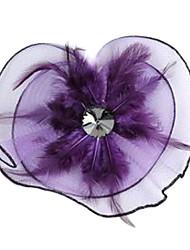 Crystal Mesh plumes en forme de fleur en épingle à cheveux violet (1pc)