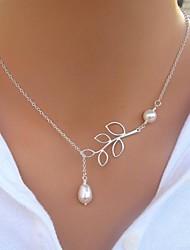 Women's European Leaf Alloy Imitationg Pearl Skinny Pendant Necklace