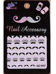 1PCS Cartoon Mustache Style Nail Art Stickers MZ Series MZ-W07
