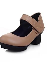 Chaussures Femme - Décontracté / Extérieure / Habillé - Noir / Marron / Blanc - Gros Talon - Bout Arrondi / Baby - Talons - Similicuir