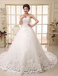 A-line Wedding Dress Chapel Train Sweetheart Tulle with Appliques / Sequin / Beading