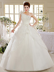 Ball Gown Wedding Dress Floor-length One Shoulder Lace