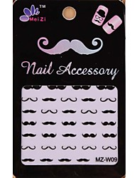 1PCS Cartoon Mustache Style Nail Art Stickers MZ Series MZ-W09