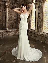Sheath / Column Wedding Dress Simply Sublime Chapel Train Strapless Sweetheart Satin with Appliques Beading Criss-Cross