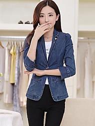 ocasional de manga longa outerwear normal médio das mulheres (denim)