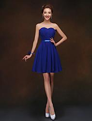 Short/Mini Bridesmaid Dress - Royal Blue Sheath/Column Sweetheart