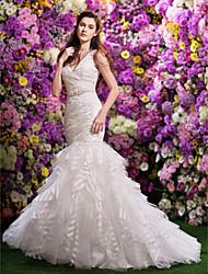 Lan Ting Fit & Flare Wedding Dress - Ivory Court Train V-neck Organza