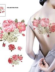 1 Stück wasserdichte bunte rosa Blumen beige geschrieben zurück Muster Tattoo-Aufkleber