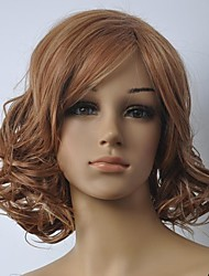 Lady's Fashionable Blonde  Brown Mixed Medium Length Wig  with Side Bang