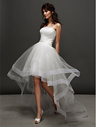 Lanting Ball Gown Wedding Dress - Ivory Asymmetrical Strapless Tulle