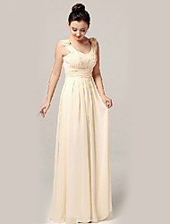 Formal Evening Dress - Champagne A-line Sweetheart / Straps Floor-length