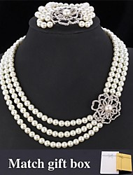 Fancy Luxury Pearl Beads Necklace Bracelet Set Flower SWA Rhinestone Jewelry for women High Quality with Gift Box