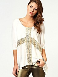 RICHCOCO Women's  Loose Middle-Length Sleeves Circle-Neck T-shirt with Sequins on Cross