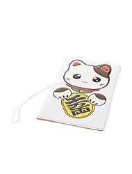 motif de chat chanceux mignon PVC souple cas de passeport en caoutchouc - blanc