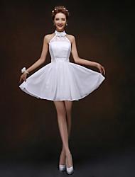 Knee-length Bridesmaid Dress - White A-line Halter / High Neck