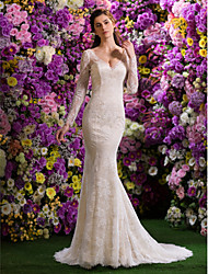 LAN TING BRIDE Trumpet / Mermaid Wedding Dress See-Through Court Train V-neck Lace with Beading Lace