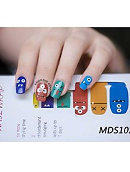 14PCS Cartoon Warm Color Nail Art Stickers MDS1028