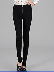 Muqi Women's High Waist Solid Color Slim Pants